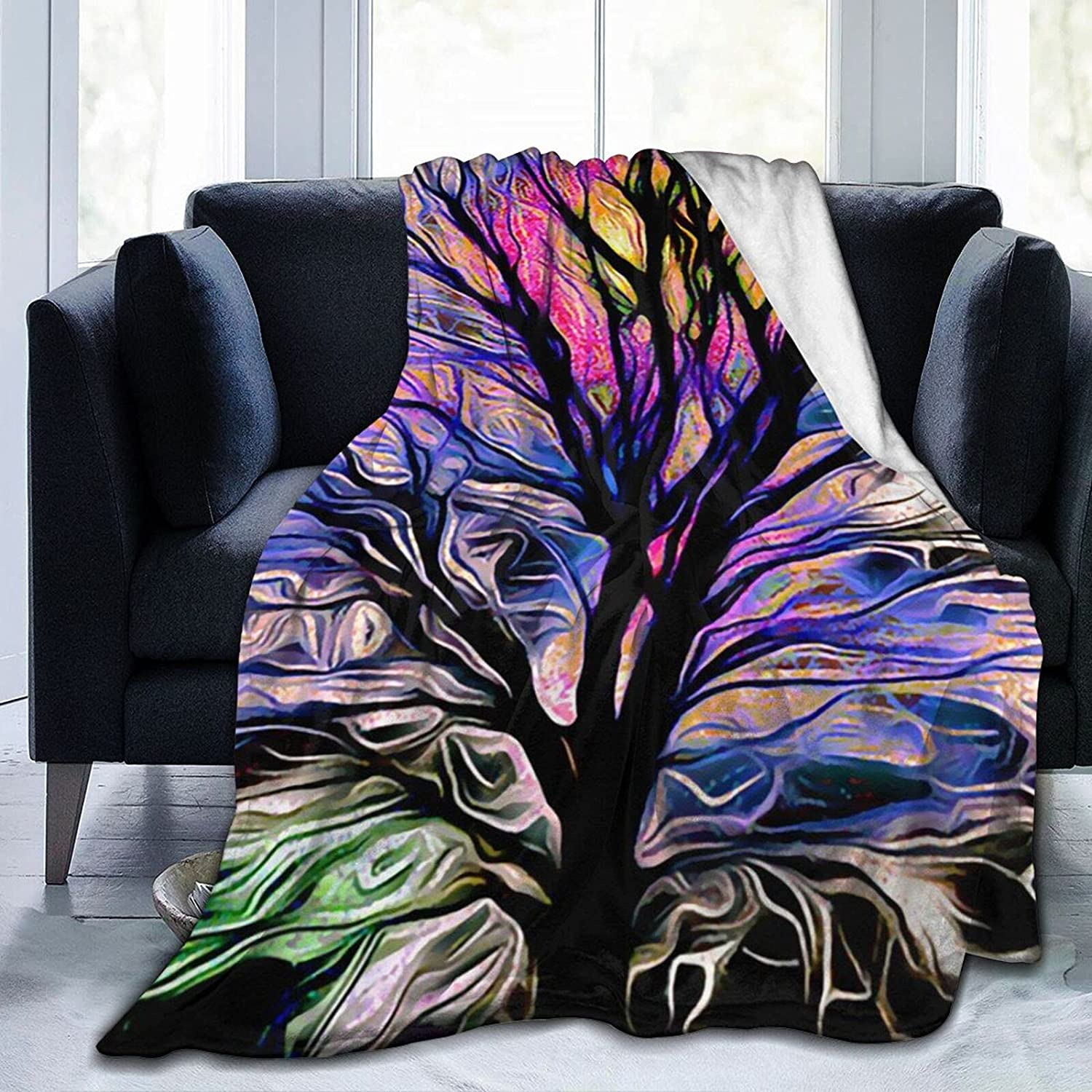 MMHOME Fleece Blanket Colorful Life National products Tree 5 ☆ very popular Inc Throw 50x40