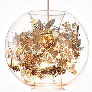 HOMIFORCE Contemporary Glass Pendant Light with golden Steel in Modern Edison Style