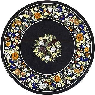 Table de salle à manger ronde en marbre incrusté Noir 91,4 cm