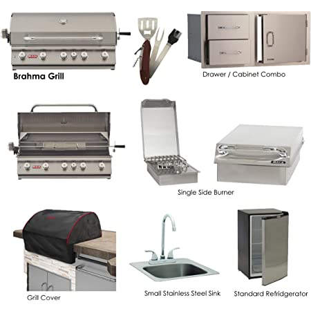 "Bull Brahma 38"" Liquid Propane Grill set with Single Side Burner, Stainless Steel Sink, Grill Cover, Refrigerator, Door/Drawer Combo w/ 5 in 1 BBQ Tool Set"