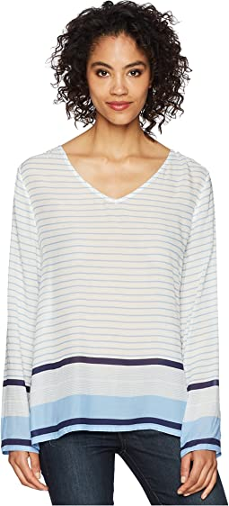 Surf Stripe Long Sleeve Soft Rayon Blouse