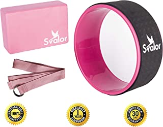 Svalor Yoga Wheel, Strap and Block Set | Most Comfortable Dharma Wheel, Strap and Block | Improve Back Bend, Helps with Flexibility | Bonus Yoga Wheel E-Guide