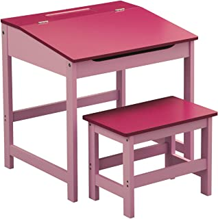 Premier Housewares 2402525 Bureau/Tabouret d'enfants MDF Rose
