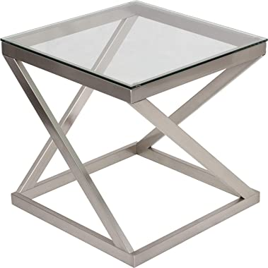Signature Design by Ashley - Coylin Glass Top Square End Table, Brushed Nickel Finish
