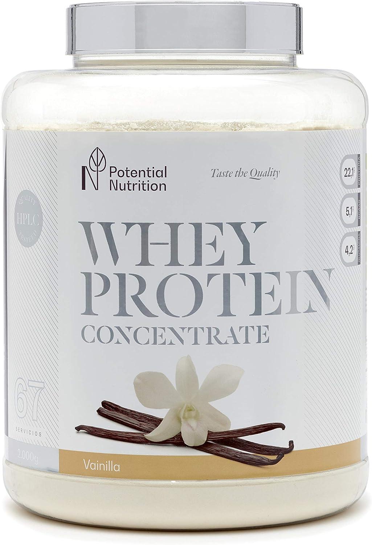 Proteína Whey Premium 2kg - Sabor Vainilla - Marca España - Sin Azúcares añadidos - Potential Nutrition