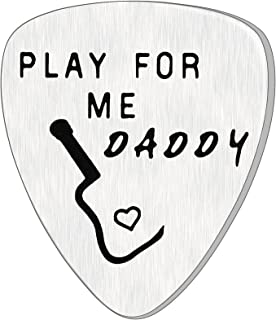 AROMAY Father's Day Guitar Pick Men Birthday Gift Dad Bass Picks Musical Pendant for Daddy Papa from Daughter Son