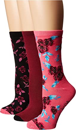 3-Pack Holiday Crew Socks Rose Gift Box