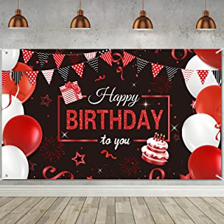 Happy Birthday Backdrop Banner, Extra Large Red Black Balloons Stars Party Decorations Backdrop Photo Booth Background for...