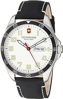 ساعة فيكتورينوكس فيلدفورس ستانلس ستيل انالوج كوارتز مع حزام من الجلد، اسود، 20 موديل 241847
