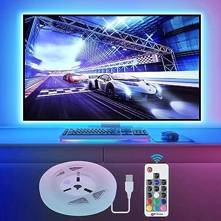Vansky 2M LED TV Hintergrundbeleuchtung für HDTV/Gaming PC LED Streifen RGB Neon Akzent TV Beleuchtung für Flachbildschirm-TV-Zubehör(Reduzieren die Augenermüdung und Erhöhen die Bildklarheit)
