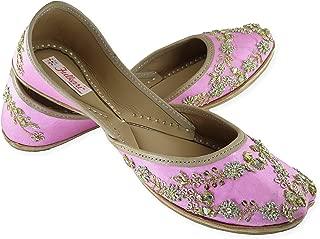 Fulkari Prime Spring Gold Women's Soft Leather Bite and Pinch Free Punjabi Flat Ladies Jutti Ethnic Mojari Shoe