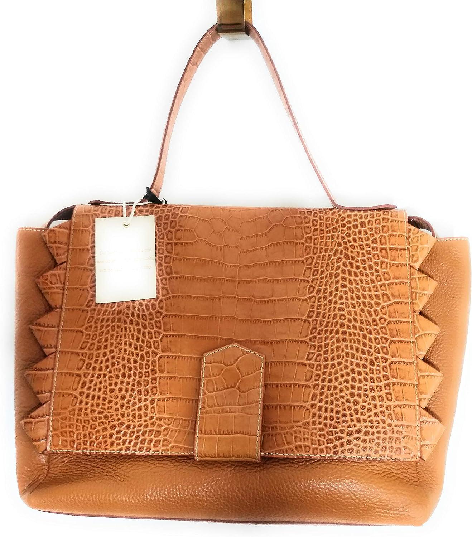 IACUCCI  Leather Top Handle Italian Crossbody Bag Handbag Brown Purse