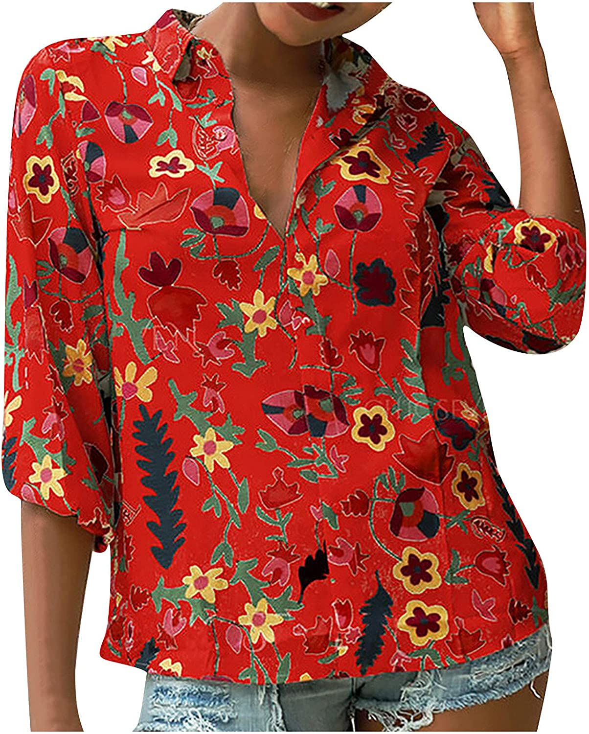 Vintage Blouse for Women 3/4 Sleeve Shirt Lapel Floral Tshirt Button Down Tees Ladies Lightweight Tunic
