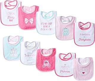 Luvable Friends Unisex Baby Cotton Terry Drooler Bibs with PEVA Back One Size white 10501701_Prncs-Prncs-OS