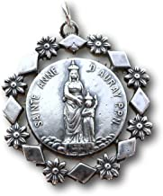 Sterling Silver St Anne and St Christopher Medal - Patron of Mothers - Antique Replica