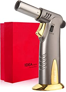 IDEAcone Luxury Butane Torch, Culinary Torch, Butane Lighter, Kitchen Cooking Blow Torch, Safety Lock, Adjustable Flame, Refillable Torch for BBQ, Baking, Creme Brulee, Welding and Cigar Gift Box