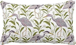 Meg121ace Funda de Almohada, diseño de Garza Morada o Funda de Almohada LumbarOblongas o Fundas de Almohada Lilac Green BirdBirds Naturalist PrintPattern ToileNature