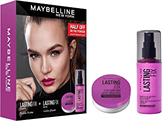 Maybelline New York Sey of 2 Pieces Prep and Set Lasting Fix Setting Spray with Lasting Fix Loose Powder - Pack of 1