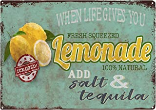 TISOSO When Life Gives You Lemons Add Salt Tequila Vintage Kitchen Decor Country Home Wall Bar Sign Metal Coffee Art Poster 8X12Inch