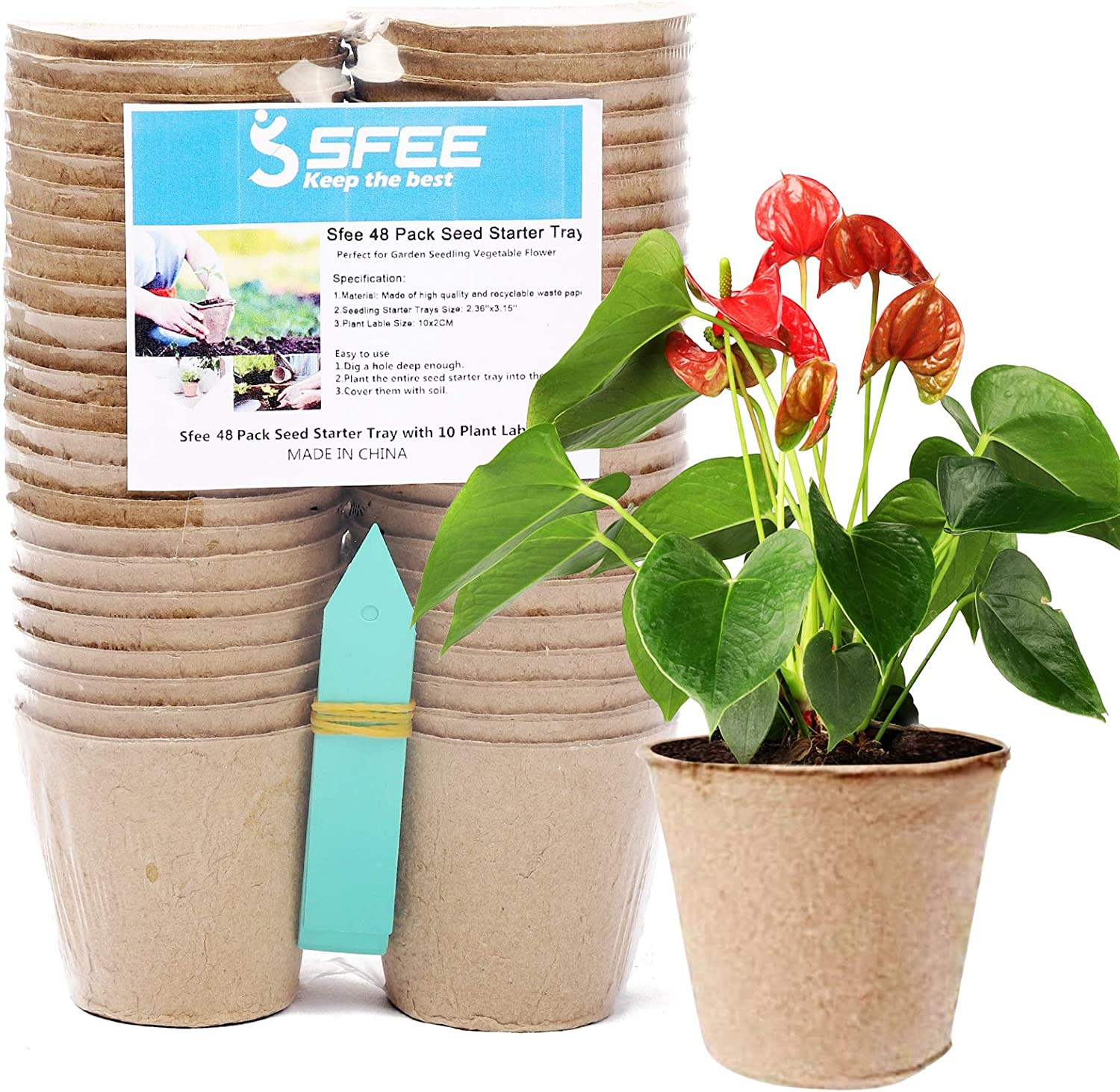 Sfee 48 Pack Discount is also underway Seed Starter Tray Biodegrada Kits Pots Peat 3.15'' Boston Mall