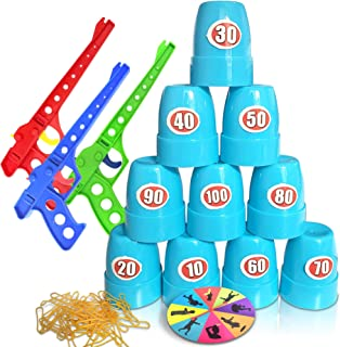 Gamie Shooting Competition Game for Kids - Includes 3 Toy Guns, 100 Rubber Bands, 10 Cups, Game Turntable, Score Stickers and Instructions - Fun Target Practice Game for Boys and Girls