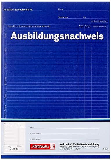 A4, 28 Blatt, gelocht, 1 Woche je Seite Ausbildungsnachweisblock Brunnen 1042572 Berichtsblock Ausbildung 15 Bl/öcke