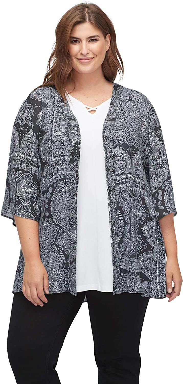 Catherines Women's Plus Size Petite Brooksville Georgette Kimono