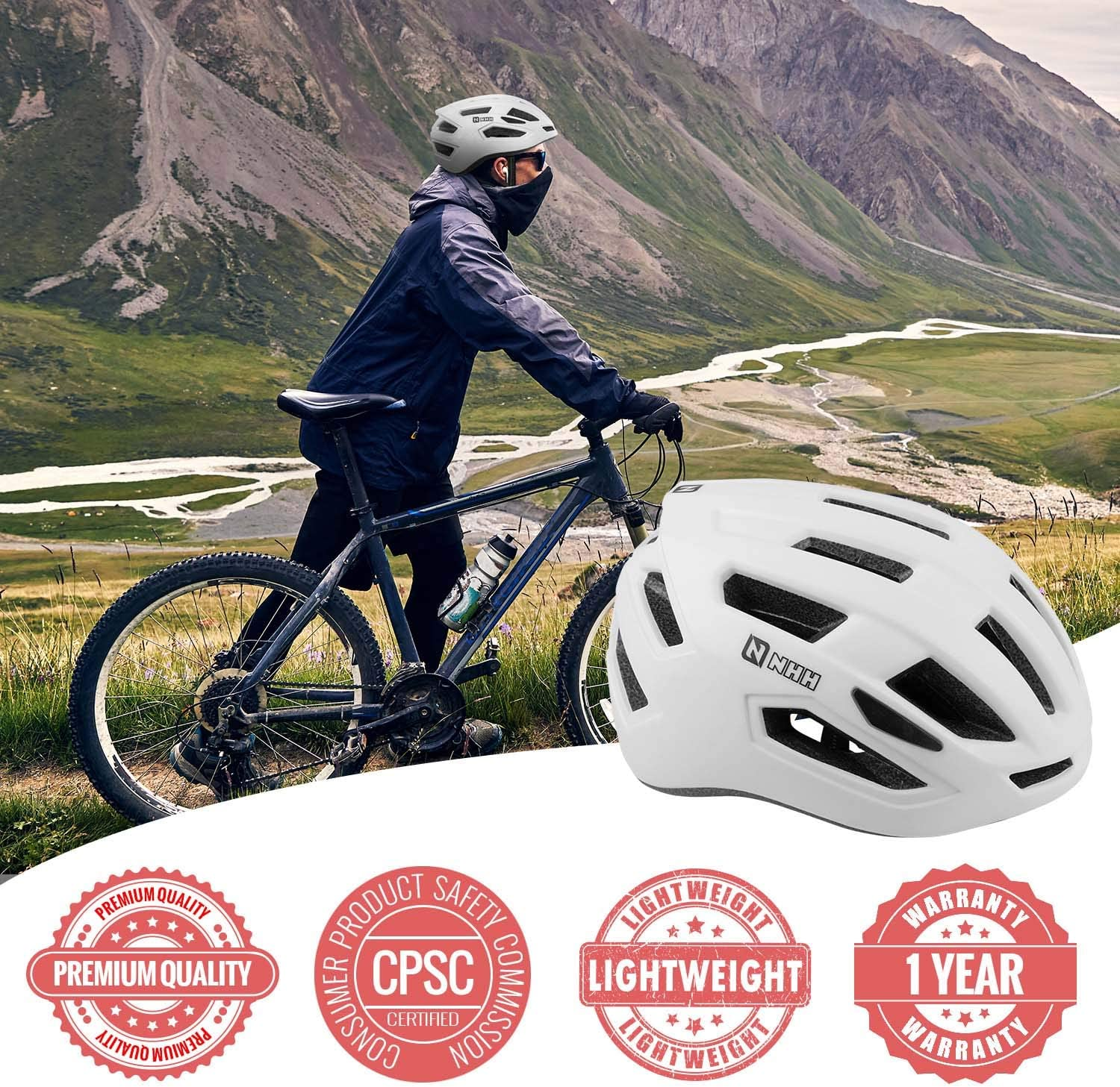 CPSC-Compliant Bicycle Cycling Helmet Lightweight Breathable and Adjustable Helmet for Men and Women Commuters and Road Cycling NHH Adult Bike Helmet