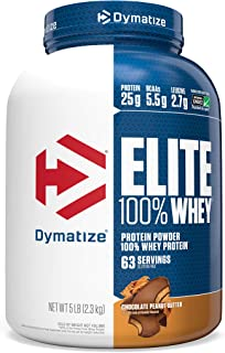 Dymatize Elite 100% Whey Protein Powder, 25g Protein, 5.5g BCAAs & 2.7g L-Leucine, Use Pre or Post Workout, Quick Absorbin...