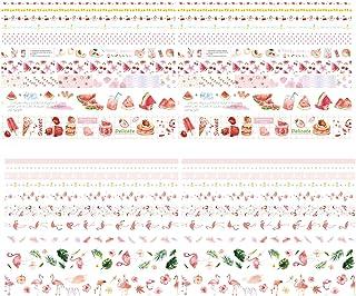 ASFINS Washi Tape Rose, 20 Rouleaux Masking Tape Bullet Journal Ruban Adhésif Décoratif, pour Scrapbooking, Artisanat de B...