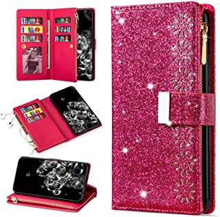 Herbests Compatible with Huawei Honor 10 Leather Wallet Case 3D Bling Glitter Sparkle Folio Flip Case Protective Case Cover with Card Slots Magnetic Closure Kickstand,Gold Butterfly