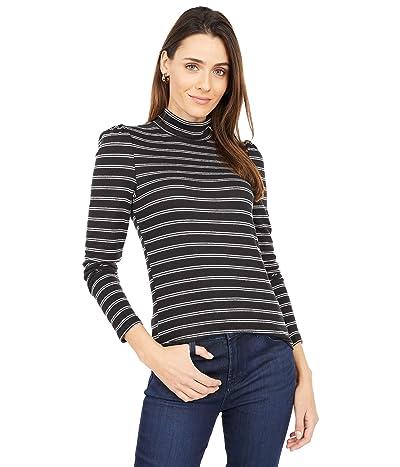 Sanctuary Soft Shoulder Mock Tee (Black/Milk Stripe) Women