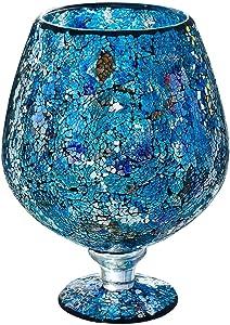 The Look l'aspect mosaïque Bol en Verre Grand Vase–Bleu Hauteur 30cm