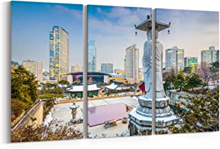 Seoul Canvas Print Seoul Canvas Art Seoul Wall Art Canvas Multiple Sizes Gallery Wrapped Canvas on Pine Wooden Frame