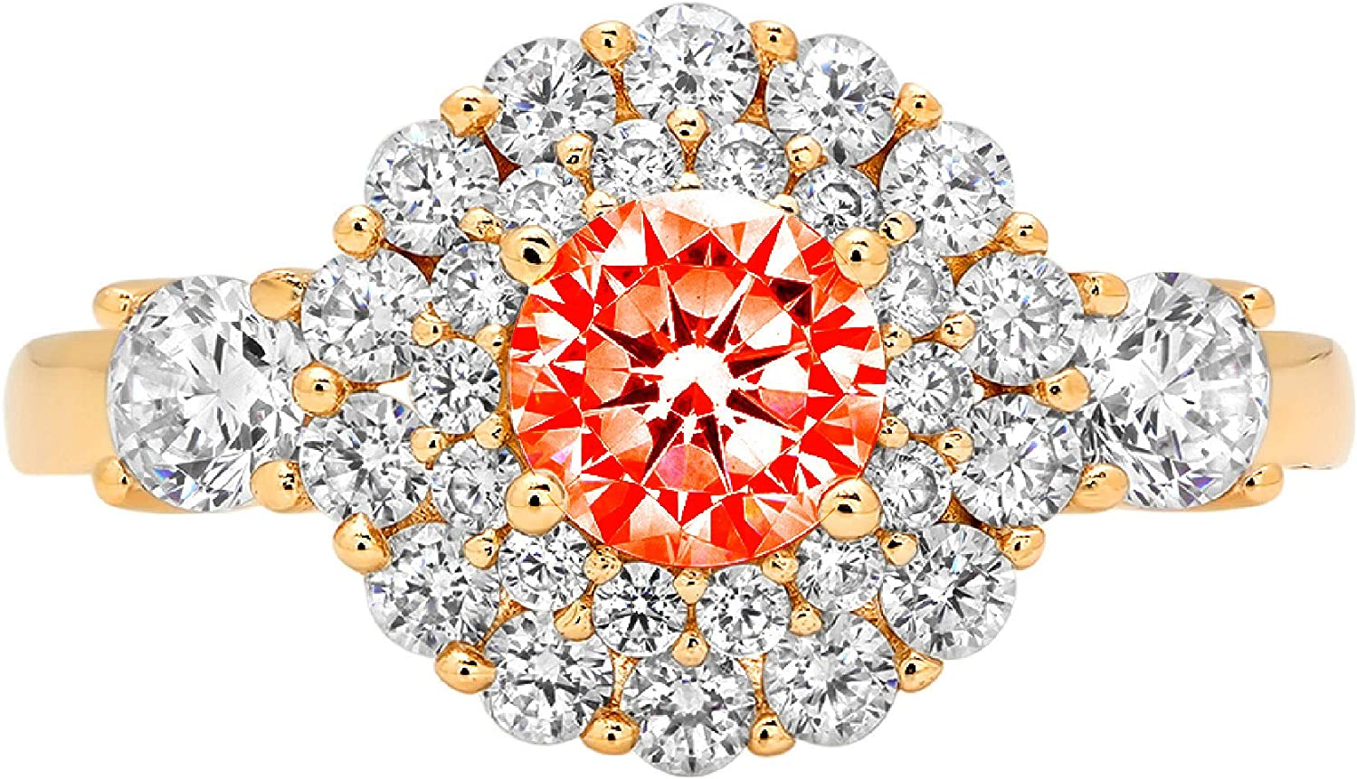 1.06ct Round Cut Double Halo Solitaire New item Ideal VVS1 free Red Simulated