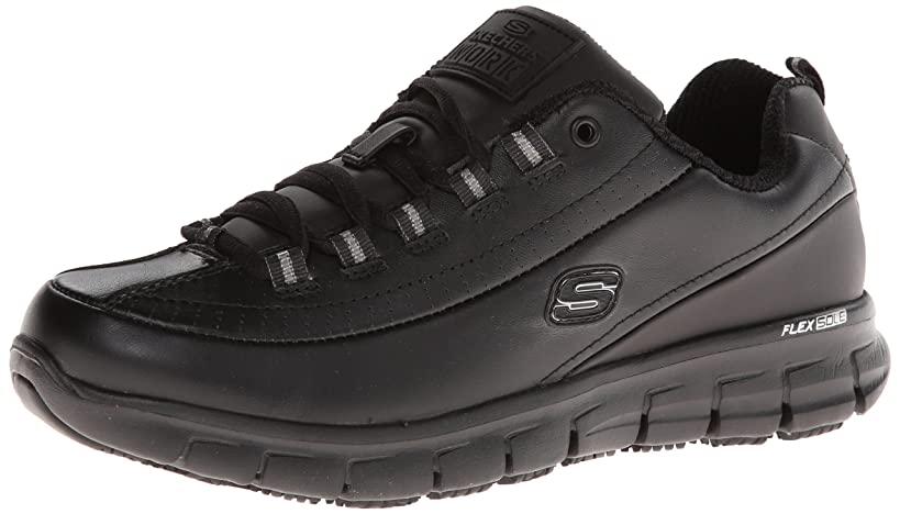 Skechers for Work Women's Sure Track Trickel Slip Resistant Work Shoe, Black, 5.5 M US
