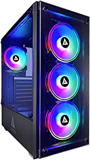 Apevia Genesis-BK Mid Tower Gaming Case with 2 x Tempered Glass Panel, Top USB3.0/USB2.0/Audio Ports, 4 x RGB Fans, Black ...