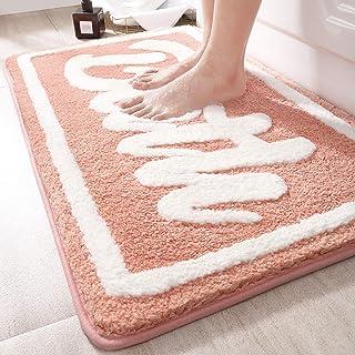 バスマット 足ふきマット 玄関マット 吸水 速乾 お風呂マット 丸洗い マイクロファイバー 洗面所 浴室 ハッピーシャワー ピンク 40x60cm