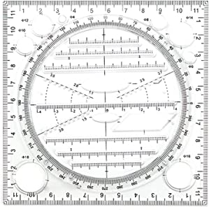 Multifunctional Drawing Ruler,Plastic Measuring Template Rulers, Multipurpose Draw Round Curve Horizontal Parallel Line Vertical Parallel Line for Drawing Engineering Drafting School Office Supplies