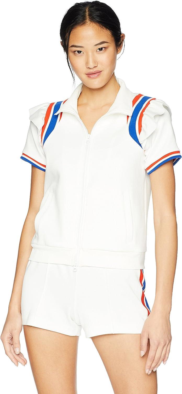 Pam & Gela Womens Short Sleeve Ruffle Track Jacket Fashion Vest
