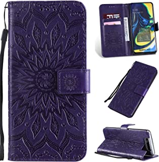 Pressed Printing Sunflower Pattern Horizontal Flip PU Leather Case for Galaxy A80, with Holder & Card Slots & Wallet & Lanyard New Hopezs (Color : Purple)