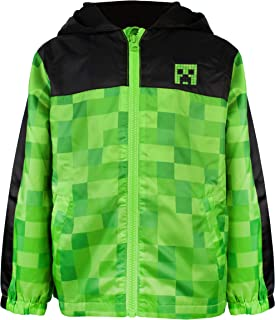 Minecraft Boys Creeper Fleece Lined Raincoat Hooded Jacket