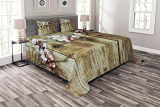 Ambesonne Rustic Bedspread, Stained Walnut Branch with Soft Twiggy Swirling Flowers Leaves Cottage Life Concept, Decorative Quilted 3 Piece Coverlet Set with 2 Pillow Shams, King Size, Pink Brown