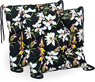 Coussin de Chaise 40 x 40 cm - pour l'intérieur et l'extérieur (Motif Floral, 40 x 40 cm 2 PIÈCES)