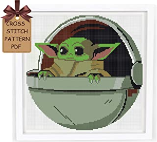 Baby Yoda cross stitch pattern pdf, modern counted disney cross stitch sampler design, cute simple easy for beginners cross stitch chart, home wall decor DIY