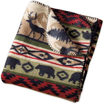 DII Design Imports Walk in the Woods Back Country Stripe Fleece Throw Blanket ~ 50 x 60 Inch