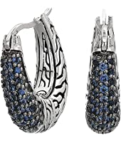 John Hardy - Classic Chain Arch Small Hoop Earrings with Blue Sapphire