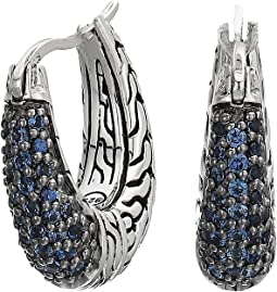 Classic Chain Arch Small Hoop Earrings with Blue Sapphire