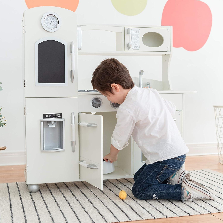 Teamson Kids Wooden Play Kitchen White Children S Fridge Freezer Oven Td 11414w Amazon Co Uk Toys Games