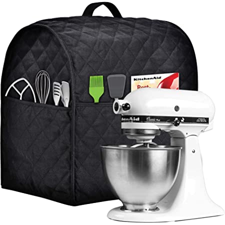 Easy Cleaning ,Can Ironable Beige, Fits for 4.5-Quart and All 5-Quart Stand Mixer Dust Cover with 3 Pockets Compatible with KitchenAid Tilt Head